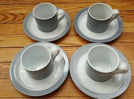 DANSK Bistro Collection Ringsted Blue white stripes Cups and Saucers set of 4 - $4.90