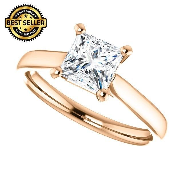 1.00 Carat Ideal Cut Princess Diamond Solitaire Ring in 14k Gold