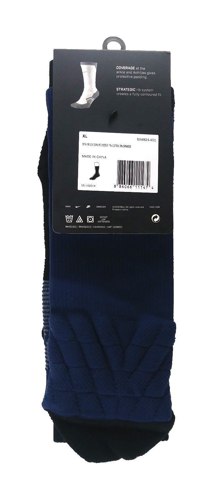 NIKE Elite Vapor Crew Dri-Fit Socks sz XL Extra Large (12-15) Dark Blue