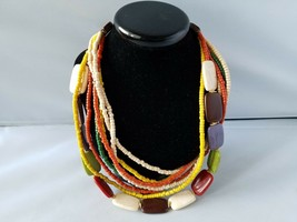 Vintage Women's Necklace Wooden Puka Bead Multi Strand Fashion Jewelry - $23.24