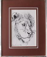 Lion, King,  Framed Matted Wildlife Art Print, Pen and Ink, Animal Art P... - $30.00