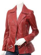 QASTAN Women's New Stylish Red Biker Leather Jacket QWJ42-A - $149.00+