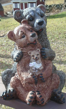 """Concrete Statue, 3 bears, and a bunny, 15"""" tall, solid concrete Black Be... - $149.00"""