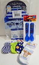 Newborn Baby Boy Mixed Lot Socks Cap Scratch Mittens Spoons Forks New - $19.79