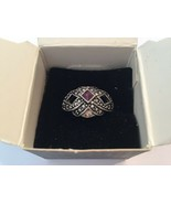 Avon Woven With Faux Marcasites Ring Amethyst Stone Sz 10 - $19.75