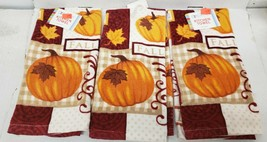"SET OF 3 SAME PRINTED TERRY COTTON TOWELS (15"" x 25"") FALL, LEAVES & PUM... - $15.83"