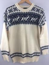 Vtg Dale of Norway Reindeer Sweater 50 White Blue Oslo Nordic Fisherman ... - $188.10