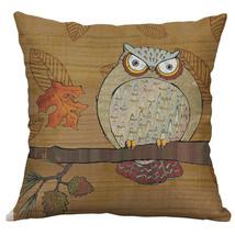 18''Case Sofa Cushion Cover Home Decor Owl pattern Cotton Linen Pillow - $5.98