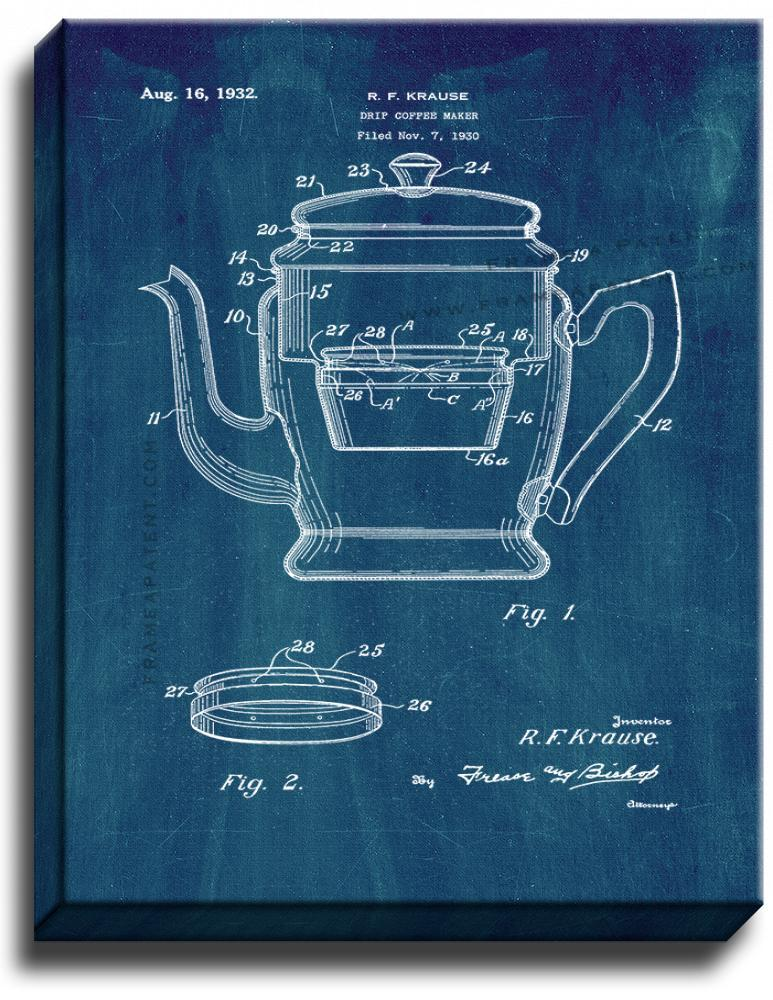 Primary image for Drip Coffee Maker Patent Print Midnight Blue on Canvas