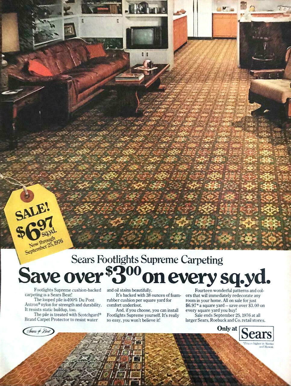 Primary image for 1976 Sears Footlights Supreme Carpeting PRINT AD Great 70s Decor and Colors!