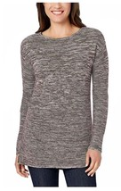 Ellen Tracy Marled Knit Boat Neck Pullover Sweater, Grey/Ivory, Size M. - $16.82