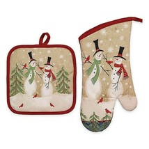 Avanti Tall Snowmen Cotton 2-Piece Potholder and Oven-mitt Set Christmas - $33.54