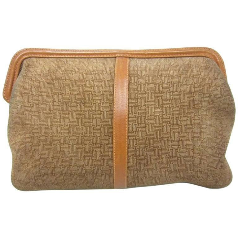 Vintage LANVIN brown logo printed suede leather pouch bag. Great masterpiece for - $128.00