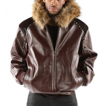 Faux fur with animal print Men Leather jacket