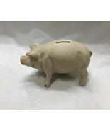 Reproduction Heavy Cast Iron Piggy Bank White in Color - $23.75