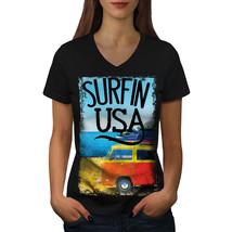 Surfin USA Poster Shirt Summer Beach Women V-Neck T-shirt - $12.99+