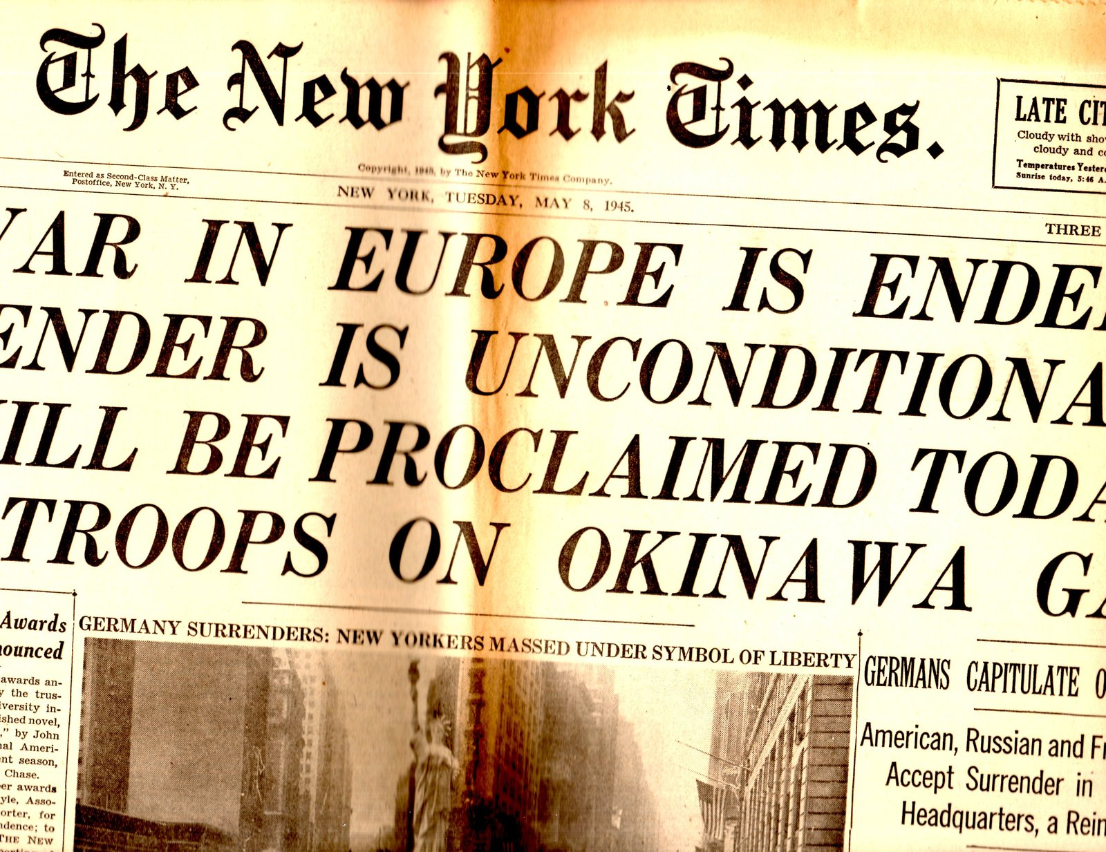 Primary image for New York Times Newspaper - Tuesday May 8,1945