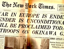 New York Times Newspaper - Tuesday May 8,1945 - $14.50