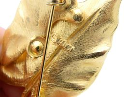 VTG BSK Signed Gold Tone Modern Textured Dual Leaf Brooch Pin image 4