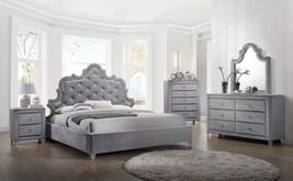 Meridian Sophie King Size Bedroom Set 5pcs in Grey Velvet Contemporary Style