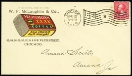 W.F. McLaughlin & Co. Coffee Advertising Cover Chicago Flag Cancel - Stu... - $85.00