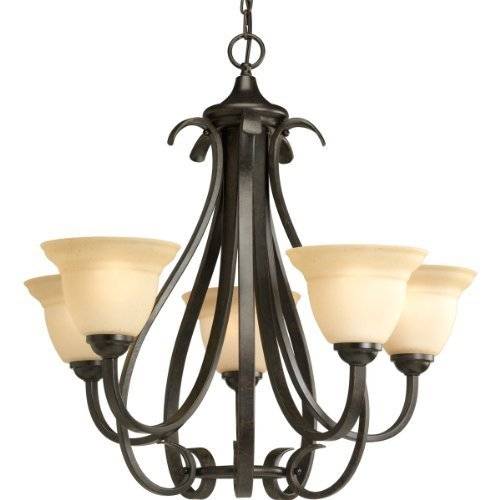 "Primary image for Progress Lighting P4416-77 Torino Five-Light Chandelier, 26 1/8"" x 24 3/4"", Forg"
