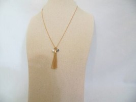"Charter Club 16"" Gold Tone Charm Tassel Necklace L569 $24 - $10.55"