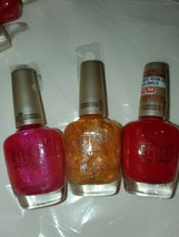 Lot of 3 Milani Nail Lacquer golden girl 60, glitzy girls 01, red to tan... - $13.09