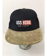 Vintage USS Kobe Steel Company Hat Cap Leather Strapback Suede Bill USA ... - $26.68