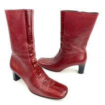 FRANCO BARBIERI Red Leather Zip Heel Ankle Boots Size 7.5 Med - €22,30 EUR