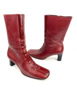 FRANCO BARBIERI Red Leather Zip Heel Ankle Boots Size 7.5 Med - $19.79