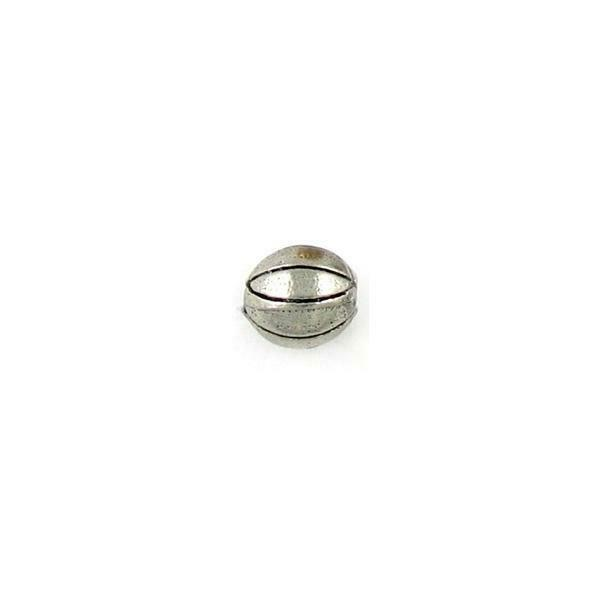 BASKETBALL FINE PEWTER BEAD - 9mm Round  w/ 2mm Hole
