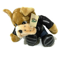 Peek A Boo Toys Plush Bulldog Dog Brown Black Faux Leather Jacket Tough ... - $18.70