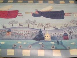 Wallpaper Border Flying Angels Teal Blue EH00065 Landscape Primitive Country NIP - $14.84