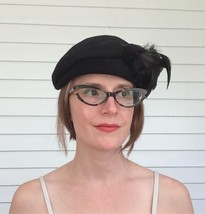 Vintage Black Feather Hat Wool 23 Merrimac - $23.00