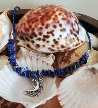 "plus size 22"" royal blue necklace with lapis and moon pendant - $5.75"