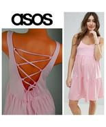 ASOS Maternity DRESS 8 Medium Pink Ruffle Tiered Shower Party Wedding La... - $31.18
