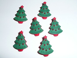 Pretty Christmas Trees 3-D Holiday Fun Plastic Shank Buttons - (6 button... - $5.39