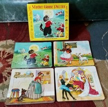 Vintage Mother Goose Four Inlaid  Puzzles  Platt & Munk  1952 - $23.36