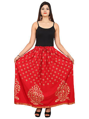 Rajasthani Printed Hippie Long Bottom Cotton Waisted Maxi Skirt