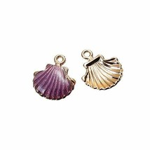 Scallop Shell 18mm Gold Plated Purple Enamel Beach Charms 2 PCs - $8.91