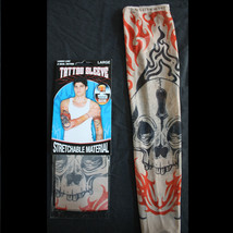 2(1pr)-Gothic Tribal SKULL TATTOO SLEEVES-Punk Skater Costume Accessory-... - $3.89