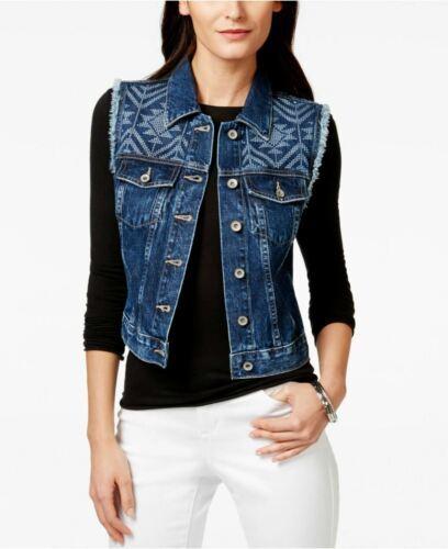 Big Star Women's Ryder Denim Blue Jean Vest Printed Desert View Wash Licensed