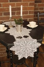 "Christmas Table Runner 15x39"" Lace Snowflake Silver Seasonal Home Decora... - ₨1,145.96 INR"