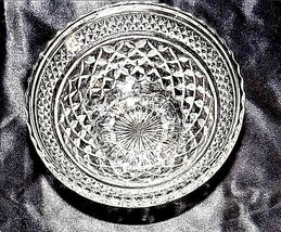 Cut Glass Footed Bowl with Detailed Diamond Design AA18-11810 Vintage Heavy image 3