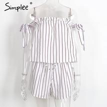 Simplee white bow stripe elegant jumpsuit romper Off shoulder two piece suit ove image 2