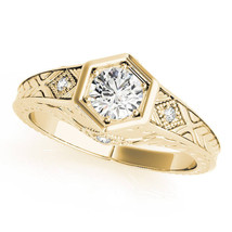 Hexagon Engraved Round Diamond Ring in Yellow Gold by MDC Diamonds NY - $1,435.00