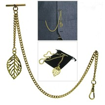 Albert Chain Gold Color Pocket Watch Curb Link Chain Leaf Design Fob T B... - $16.99