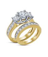 Three Stone Diamond Engagement Ring & Band Bridal Ring Set 925 Sterling ... - $91.99