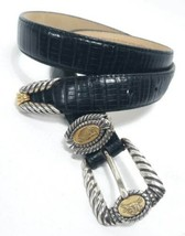 Womens Vintage Brighton Belt Black Leather Roman Greek Coin Inspired Sma... - $58.02